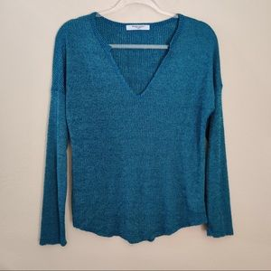 Project Social T Teal Long Sleeve Raw V-Neck Top